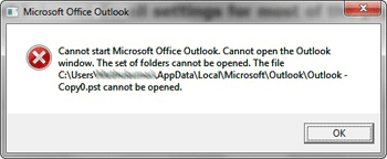 outlook cannot open