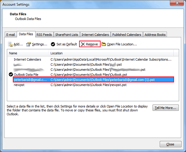 Remove Existing PST File