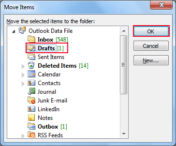 Select darft folder