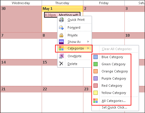 how to choose color in outlook as default
