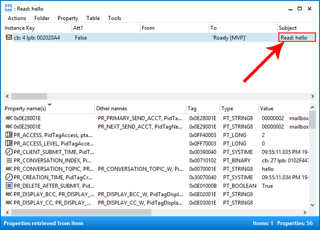 how to show subject in outlook